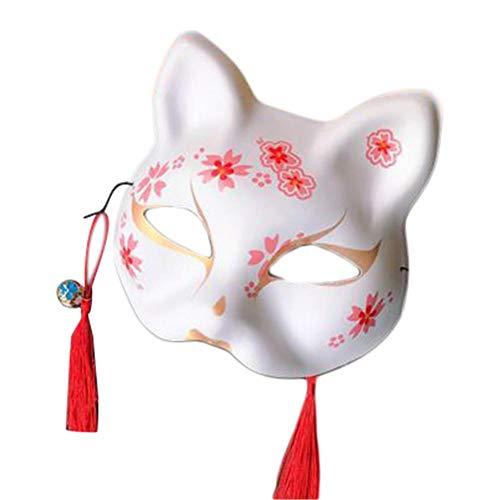 きつね お面 狐 半面 マスク文化祭 学園祭 夏祭り仮面 舞踏会 手描き狐お面 ハロウィン お コスプレ 衣装、 弾性リボン付き、 調整可能,、 16x19cm