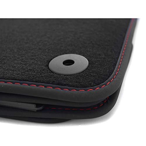 kh Teile Fußmatten passend für Golf 7 VII Premium Automatten 4-teilig Velours schwarz Nubuk schwarz Ziernaht rot