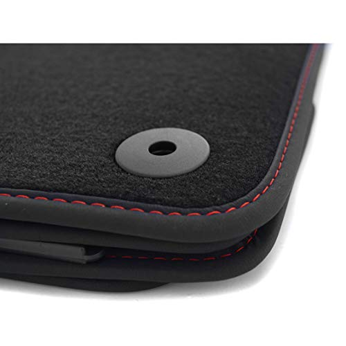 kh Teile Fußmatten passend für Golf 7 VII 5G Premium Automatte 4-teilig Velours schwarz, Rote Ziernaht