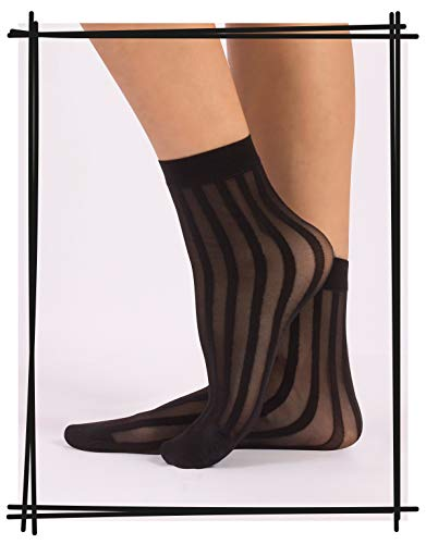 Calzitaly 3 Pairs Women Pop Socks, Sheer Everyday Ankle Socks in 3 Different Designs: Dots, Stripes and Geometric – One…