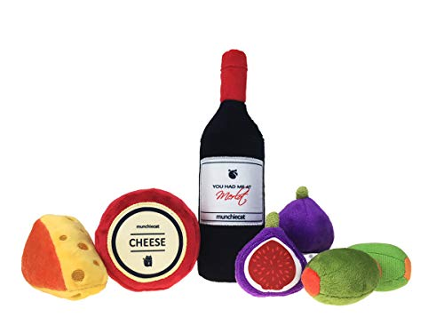 munchiecat Wine and Cheese Cat Toys 7 Piece Variety Set   Wine Bottle, Cheese, Figs & Olives   Organic Catnip, Crinkle Paper & Rattle Bells
