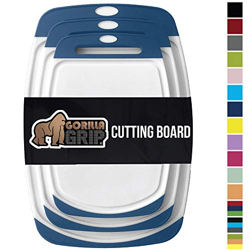 GORILLA GRIP Original Oversized Cutting Board, 3 Piece, BPA Free, Dishwasher Safe,...
