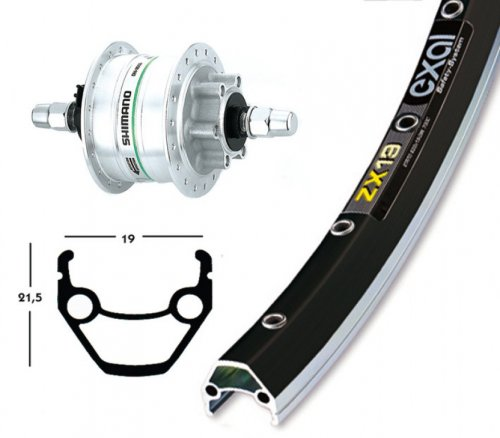 Bike-Parts Unisex– Erwachsene V-Rad 75DH3D32 Laufrad, Silber, 1size