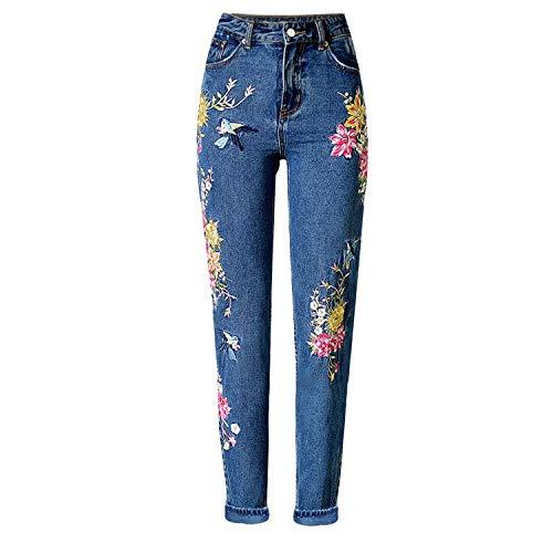 HOSDWomen Denim Broek Rechte Lange Jeans Broek Bloemen Borduurwerk Hoge Taille Dames Jeans Legging Broek