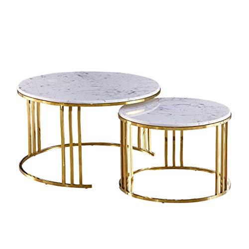 BXZ Elegante mesa redonda nido de mesas, juego de 2 mesas de centro anidadas circulares, mesa auxiliar de mármol natural con patas de metal resistentes para sala de estar, dorado/blanco