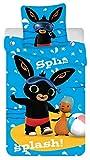 Bing Set di biancheria da letto per bambini – Copripiumino e federa per letto singolo – 2 pezzi – Biancheria da letto per Bing Bunny in 100% cotone – Piumino e federa per bambini