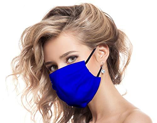 Urhome Behelf Mundschutz Maske aus 100% Baumwolle Made in Europa, Kälteschutz Gesichtsmaske, Staubdichte Maske I 1 x Gesichtsbedeckung Dunkel Blau