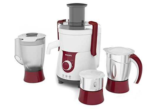 Philips Viva HL7715 700-Watt Juicer Mixer Grinder with 3 Jars (Pistil Red/White)