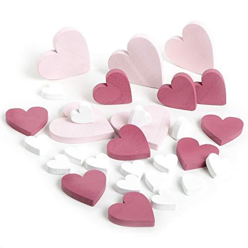 Logbuch-Verlag 29 kleine Herzen rosa pink weiß aus Holz 2,5-6,5 cm - Streudeko Streuteile Deko Tischdeko zum Streuen Geburtstag Mädchen Taufe Hochzeit