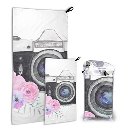 QYUESHANG Vintage Retro Watercolor Camera 2 Pack Microfiber Towel for Body Towel for Body Set Fast Drying Best for Gym Travel Backpacking Yoga Fitnes