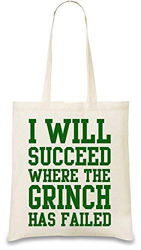 """Handtasche mit lustigem Spruch\""""I Will Succeed Where The Grinch Has failed\"""", wiederverwendbar und stylisch"""