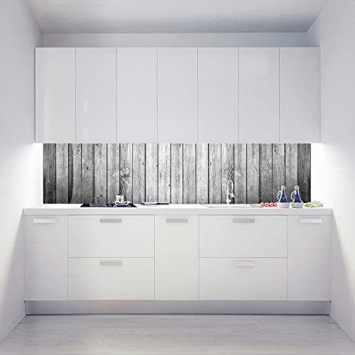 Küchenrückwand Alu Verbundplatten als Einzelplatte oder Plattenset für Eck und U-Form Küchen Zuschnitt auf Maß - Motiv Wide Wood Grey
