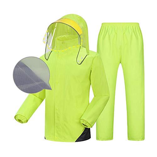 Split Regenjas Regenbroek Set - Volledig gevoerd dubbele laag - High-definition masker comfort - 100% waterdicht - Unisex regenjas
