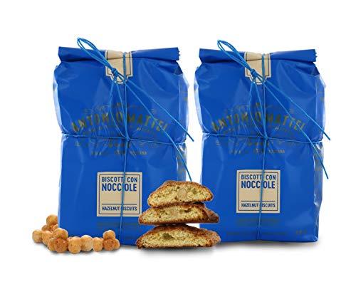 Biscotti alle Nocciole Piemonte IGP, Cantucci con Nocciola Piemonte, Sacchetto 250g (Confezione da 2 Pezzi)