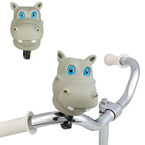 Smart-Planet - Campanello per bicicletta divertente con testa di animale, motivo animale, campana per bicicletta, tromba - clacson - ippopotamo - bicicletta - campanello per bambini
