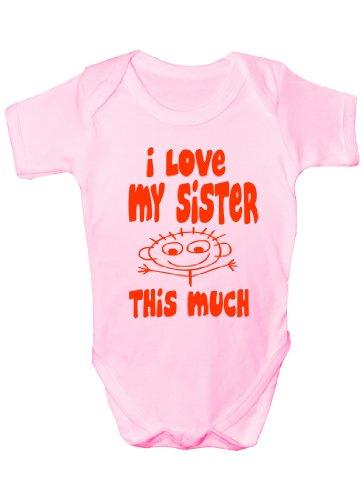 I Love My Sister This Much Cadeau humoristique Body bébé fille/garçon Sans manches pour bébés - Rose - 12-18 mois