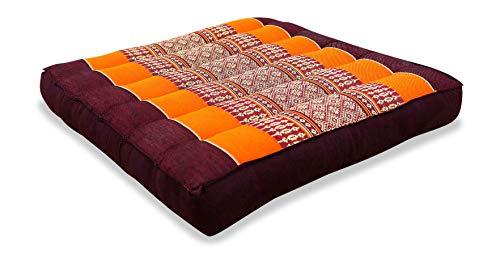 livasia Kapok Sitzkissen 35x35x6,5cm der Marke, optimal als Stuhlauflage oder Meditationskissen, Bodenkissen BZW. Stuhlkissen (orange)