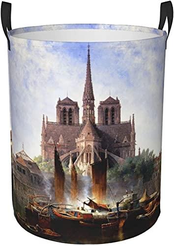Panier à linge rond pliable - Panier de rangement - Organisateur de vêtements sales - Pour dortoir, chambre à coucher - Taille M - Notre Dame de Paris