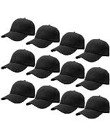Falari 12-Pack Wholesale Plain Baseball Cap Adjustable Size Solid Color G012-01-Black