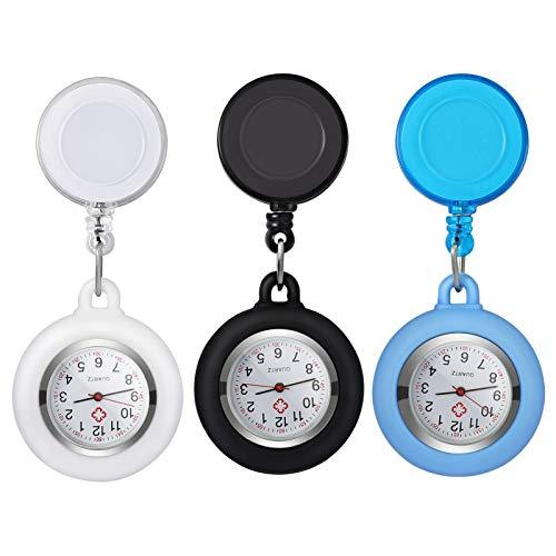 NICERIO Relojes Fob Relojes Colgantes Retráctiles Relojes de Enfermera de Fácil Acceso Relojes de Bolsillo para Mujeres Enfermeras Y Médicos 3 Piezas