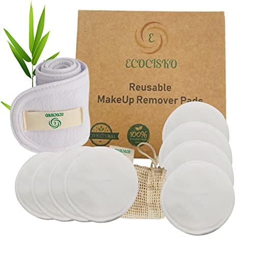 Algodón desmaquillante lavable de bambú biológico, toallitas desmaquillantes reutilizables 100 % natural para todos los tipos de piel, 8 discos desmaquillantes + red de ropa + diadema para el pelo.