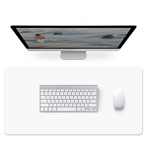 Dual Sided Desk Pad,Pu Leather Desk Mat,Waterproof Not-Slip Laptop Desk Blotter Protector Writing Pad,Mouse Pad for Office Home-White+Black 80x40cm(31.5x15.7inch)