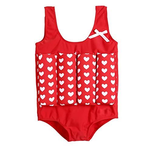 YAGATA Baby Mädchen Float Suit, Kinder Bojen-Badeanzug mit Herz-Motiv, Badeanzug mit Schwimmhilfe, Training Swimwear Bojenanzüge für Strand Baden Kleinkind/Kinder, Rot, 110