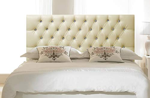 FAUX LEATHER 26' CHESTERFIELD HEADBOARD FOR DIVAN BED BASE (Cream, 2FT6 - SMALL SINGLE)