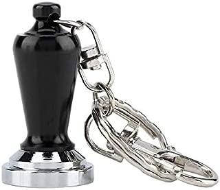 Premium Portable Couple Espresso Tamper Barista Accessories Coffee Key Chain Mini Flat Base Coffee Tamper Beautiful Coffee Keyring Cafe (color: black)