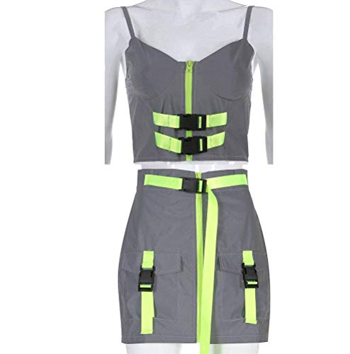 Justtime Gepersonaliseerde reflecterende zak met ritssluiting gesp vest rok pak Large grijs