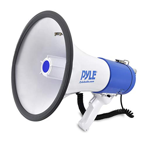 Pyle Megaphone Speaker PA Bullhorn with Built-in Siren - 50 Watts Adjustable Volume Control and 1200 Yard Range - Ideal for Football, Baseball,...