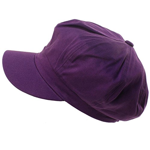 Summer 100% Cotton Plain Blank 8 Panel Newsboy Gatsby Apple Cabbie Cap Hat Purple