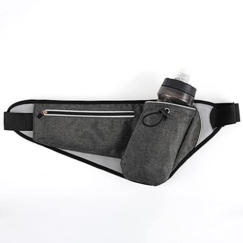Bolso Multifuncional de Cintura para Hombre y Mujer con Botella de Agua Escalada de montaña Equipo de maratón Deportivo al Aire Libre Holder (Color : Black)