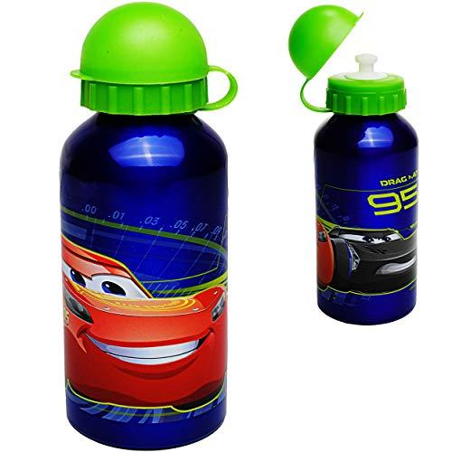 alles-meine.de GmbH 2 Stück _ Trinkflaschen / Sportflaschen -  Disney Cars - Auto  - 400 ml - auslaufsicher - aus Aluminium - Wasserflasche - für Kinder - Aluflasche 0,4 Liter ..