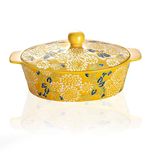 Jemirry Ceramic Casserole Dish With Lid, Lasagna Pans For Cooking, Oval baking pan, Dutch Oven, Perfect for Bread Baking and Serving, Yellow