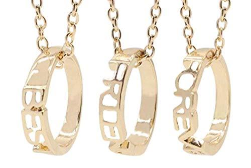 Legisdream DREI Halsketten mit Anhänger Ringe mit schriftlicher Best - Friends - for Ever - Best Friends Forever Gold-Schmuck-Geschenk-Ideen Festival Herz Freunde