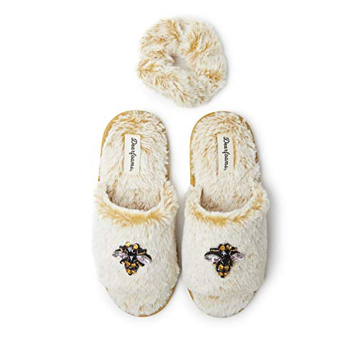 Dearfoams Women's Lane Slide with Embellishment, Giftable Cozy Slipper, Bee, X-Large
