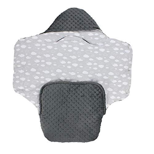 TupTam Baby Winter Fußsack Einschlagdecke für Babyschale, Farbe: Minky Graphit/Wolken Weiß