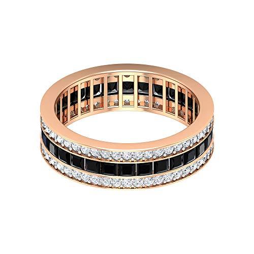 Rosec Jewels 10 quilates oro rosa talla princesa round-brilliant-shape H-I Black Diamond Ónix negro