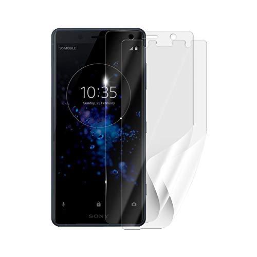 Screenshield Schutzfolie Sony Xperia XZ2 Compact H8324 [2 Stück, 2 Versionen] - volle Abdeckung des Bildschirms bei Nutzung mit oder ohne Handyhülle; kein Panzerglas