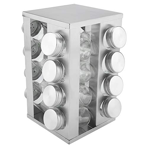 Jadeshay Support à Pots - Assiette à assaisonnement renouvelable en Acier Inoxydable de 16 Pots, Support à Pots de Cuisine, Organisateur des ingrédients de Cuisine