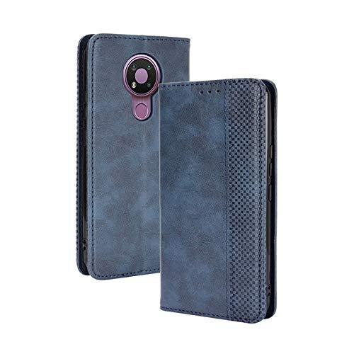 TOPOFU Leder Hülle für Nokia 3.4, Premium Flip Wallet Tasche mit Ständer & Kartenfächer, PU/TPU Magnetic Lederhülle Handyhülle Schutzhülle für Nokia 3.4 (Blau)