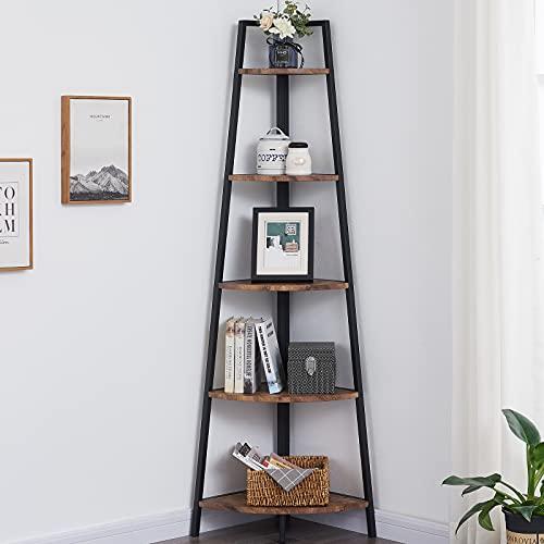 OIAHOMY Corner Shelf 70 Inch Tall Bookcase 5- Tier Industrial Corner Bookshelf Corner Ladder Shelf Small Bookshelf Rustic Plant Stand Rack Freestanding -Rustic Brown