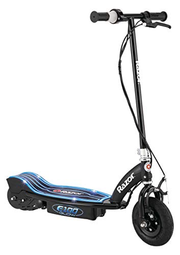 "Razor e100 glow electric scooter for kids age 8+, led light-up deck, 8"" air-filled front tire, up to 40 minutes continuous ride time"