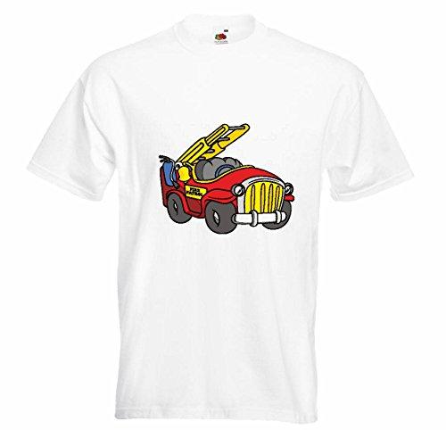 T-shirt Remera Car Fire Fun met draaibare kop en brandblusser brandweerman van de firma APT Brandwehrmann in wit