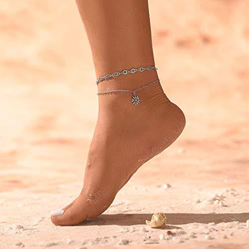 Sethexy Boho Girasol En capas Pulsera para el tobillo Colgantes de plata de flores vintage Cadena de pie Doble capa Playa de arena Joyería del pie para mujeres y niñas (PC 1)