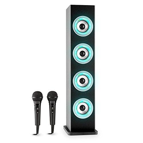 auna Karaboom Set de karaoke para nios (Torre de sonido con 2 altavoces, potenciador de bajos, Bluetooth, 2 micrfonos , USB, MP3) negro