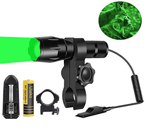 Ulako Green Light 350 Yards Spotlight Floodlight Zoomable Flashlight Torch for Hog Pig Coyote Varmint