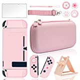 BRHE Pink Travel Carrying Case Accessories Kit for Nintendo Switch with Hard Protective Cover, Glass Screen Protector, Ultra-thin Adjustable Stand and Thumb Grip Caps 10 in 1