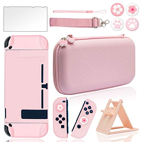 BRHE Pink Travel Carrying Case Accessories Kit for NS Switch with Hard Protective Cover, Glass Screen Protector, Ultra-Thin Adjustable Stand and Thumb Grip Caps 10 in 1